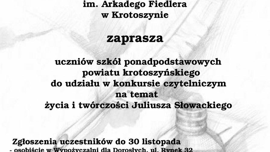 """Konkurs czytelniczy """"Juliusz Słowacki - życie i twórczość"""""""